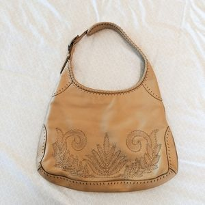 Cole Haan Embroidered Tan Pebbled Leather Hobobag